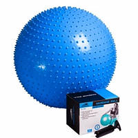 Мяч-масажер для фітнесу PowerPlay 4002 75см Синій, насос (143907)