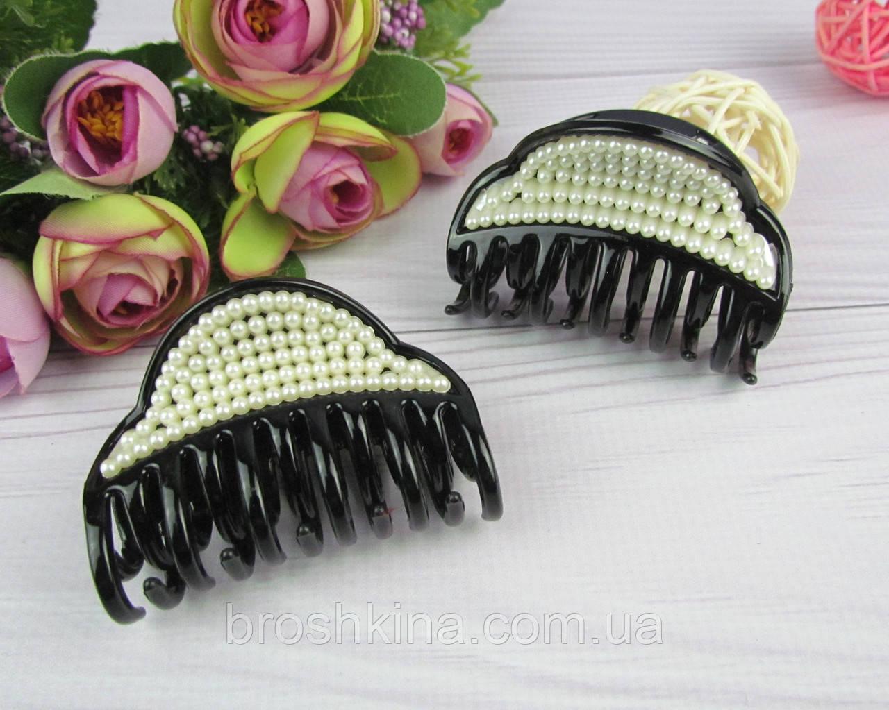Крабы для волос пластик  с жемчугом L 6.5 см 12 шт/уп.