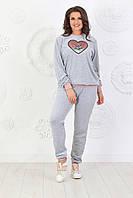 Женский велюровый серый домашний костюм на манжетах