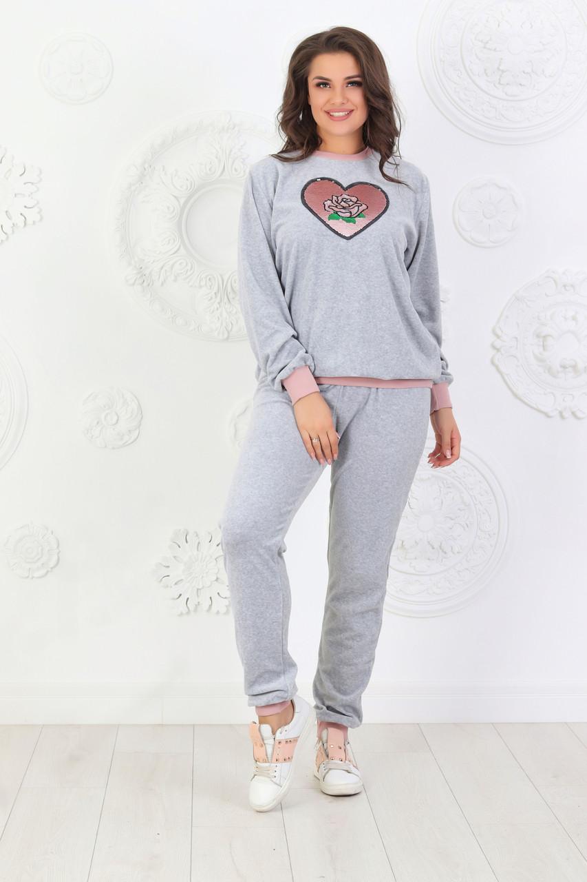 Жіночий велюровий сірий домашній костюмчик розміри 44-56