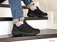 Зимние мужские  кроссовки на меху  Merrell Vibram ,  черные с синим