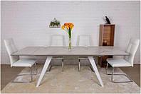 Стол обеденный Moss 1600(+400+400)х900х760 мм белый глянец стеклокерамика