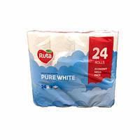 """Туалетная бумага """"RUTA"""", два слоя, на гильзе, белая, 24 шт./уп. (арт.10005)"""