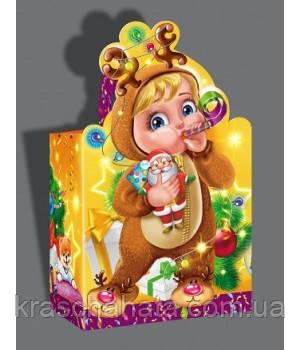 Новогодняя упаковка для конфет, Малыш с карамелькой, 700 грамм, картонная упаковка Днепр