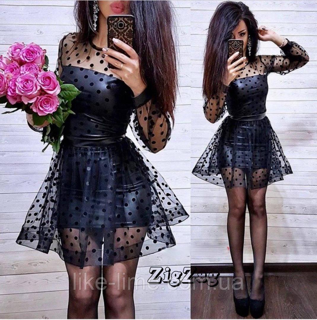 Кожаное платье с фатином