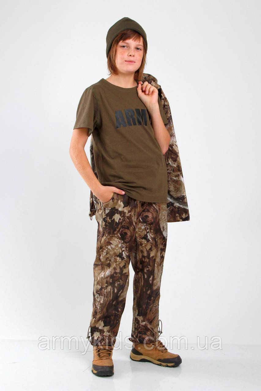 Футболка детская MILITARY для мальчиков и девочек ARMY цвет хаки