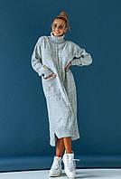 Серое вязаное платье миди, фото 1