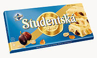 Шоколад Studentska pecet Bila белый молочный с изюмом арахисом и кусочками мармелада Orion Чехия 180гр