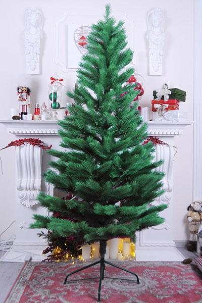Литая искуственная ель tree joy 2.1 метра с удобной сборкой и металлической подставкой (Зеленая)