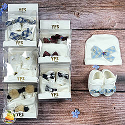Набор пинетки и шапочка для малыша Размеры: 3- 6 месяцев (9337)