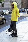 Женское зимнее теплое худи оверсайз на флисе черное белое марсал серое хаки желтое универсальное, фото 9