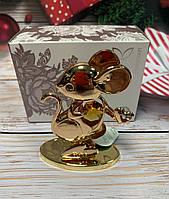 Статуэтка Золотистая Крыса с кристаллами Swarovski. Символ 2020 года