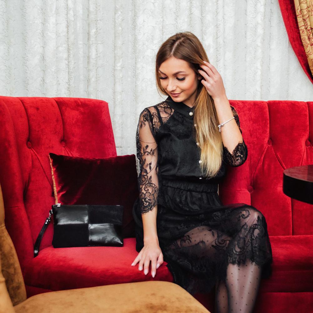 Клатч женский кожаный 03 черный замш/наплак 030302-0501