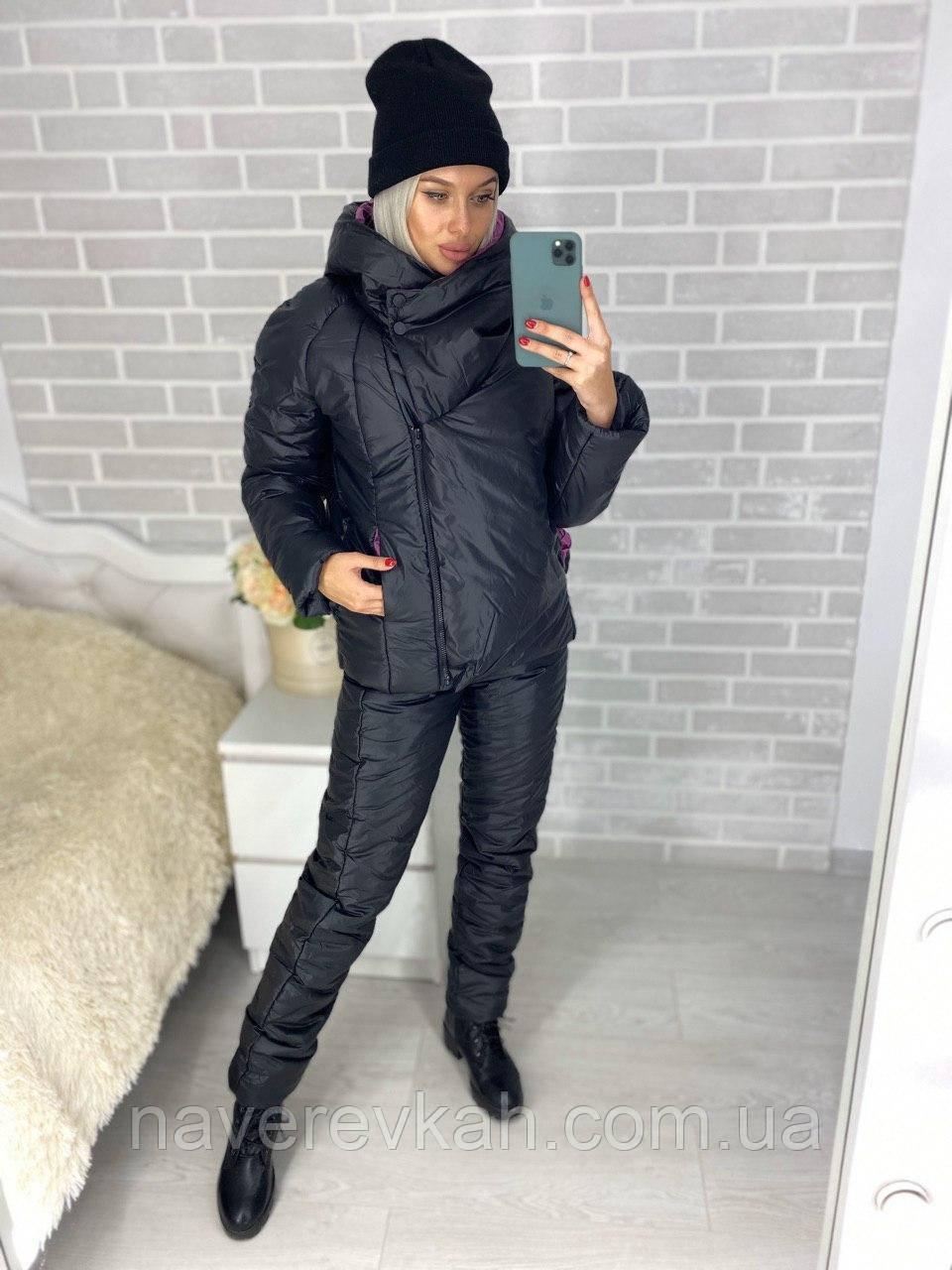 Женский зимний теплый спортивный костюм плащевка на синтепоне черный серый 42 44 46