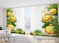 """Новогодние Фото Шторы в зал """"Елочные шары 1"""" 2,7м*5,0м (2 полотна по 2,5м), тесьма"""
