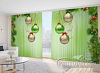 """Новогодние Фото Шторы в зал """"Елочные шары"""" 2,7м*5,0м (2 полотна по 2,5м), тесьма"""