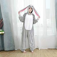 Пижама Кигуруми Кролик серый для взрослых от 145 см, женская и мужская из качественного велсофта S
