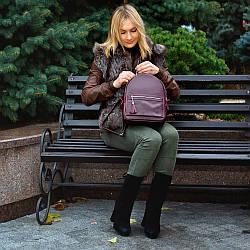 Женский кожаный рюкзак 02 виноградный флотар 02020104 с кистями