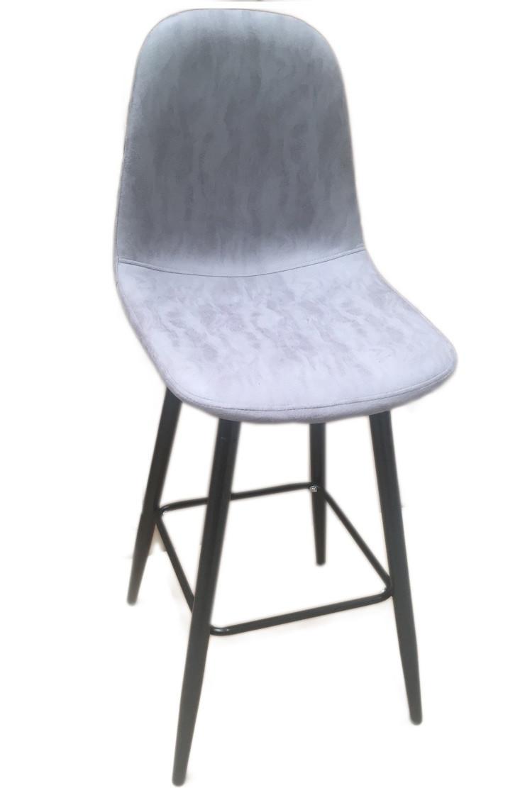 Стул барный Нубук Н, металл черный, экокожа светло-серого цвета (Бесплатная доставка)