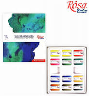 Набір акварельних фарб 12 кол., кювета, картон, ROSA Studio