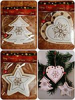 Новогодняя игрушка из дерева Сердце, Елка,Снежинка