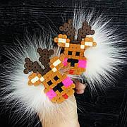 Новогодние резиночки для волос Оленёнок с помпонами песец, пара