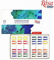 Набір акварельних фарб 24 кол., кювета, картон, ROSA Studio