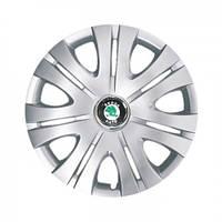 """Колпаки для колес 16"""" c логотипом автомобиля 4 шт (SKS 408) Skoda"""