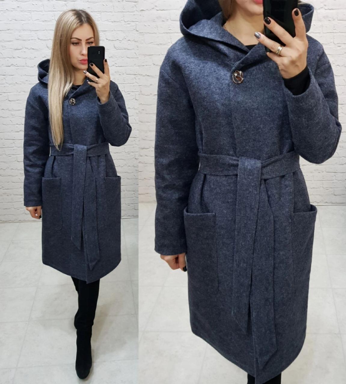 Теплое пальто с капюшоном, кашемировое, ЕВРО-ЗИМА, цвет темно-синий, арт 176