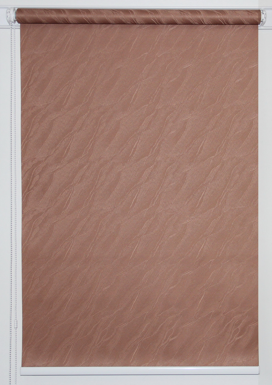 Готовые рулонные шторы 300*1500 Ткань Вода 1827 Коричневый