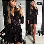 Платье женское вечернее чёрное, серебро, марсала, фото 4