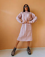 Женское вязаное свободное платье-свитер, фото 1