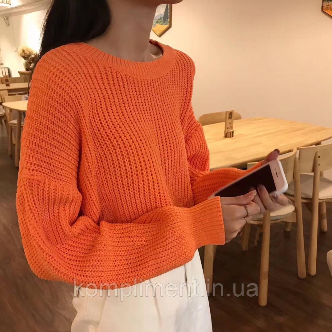 Модный вязаный теплый женский свитер