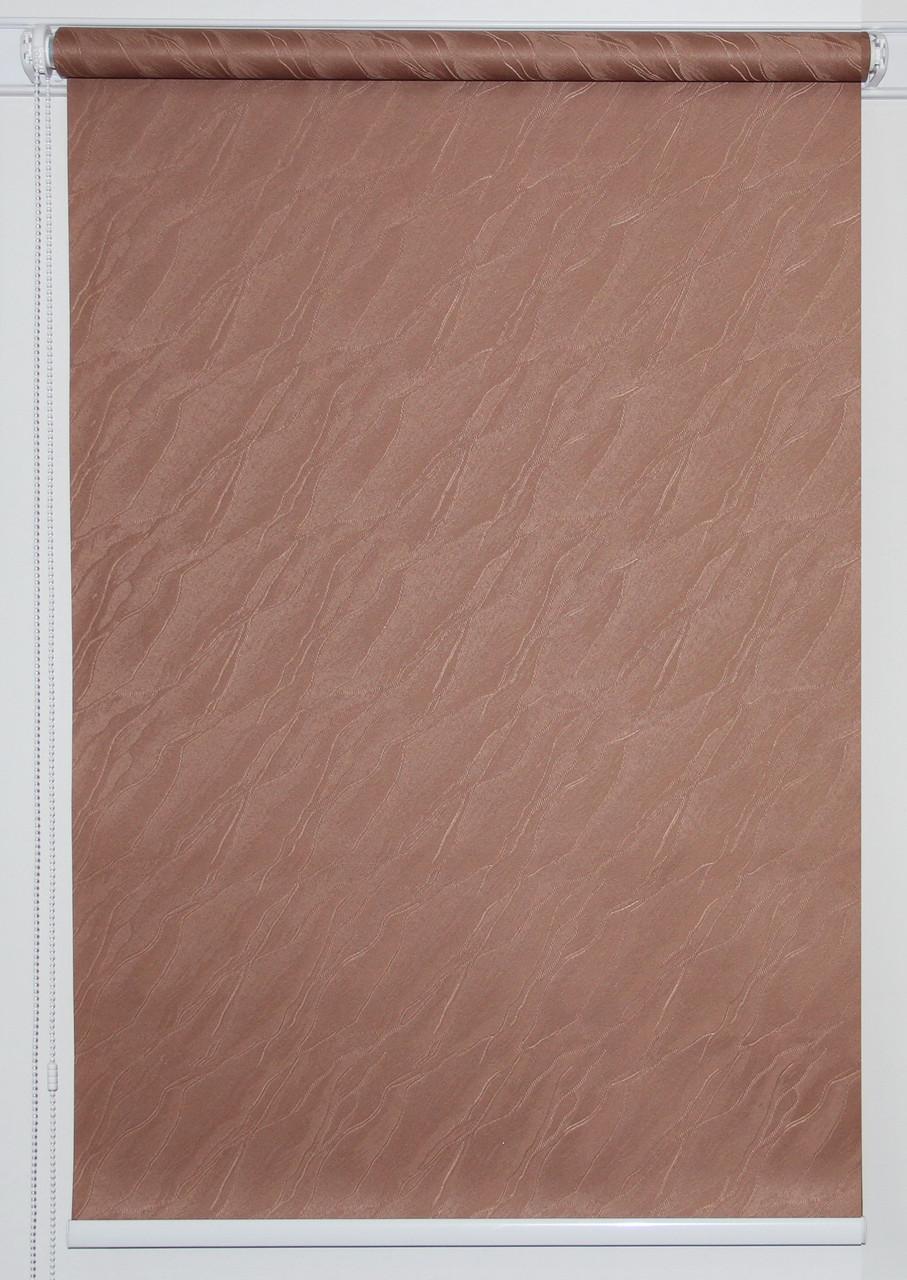 Готовые рулонные шторы 975*1500 Ткань Вода 1827 Коричневый