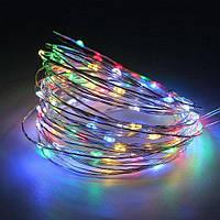 Светодиодная гирлянда нить Капли росы на 100 Led электрическая мультицвет 10 м. от сети