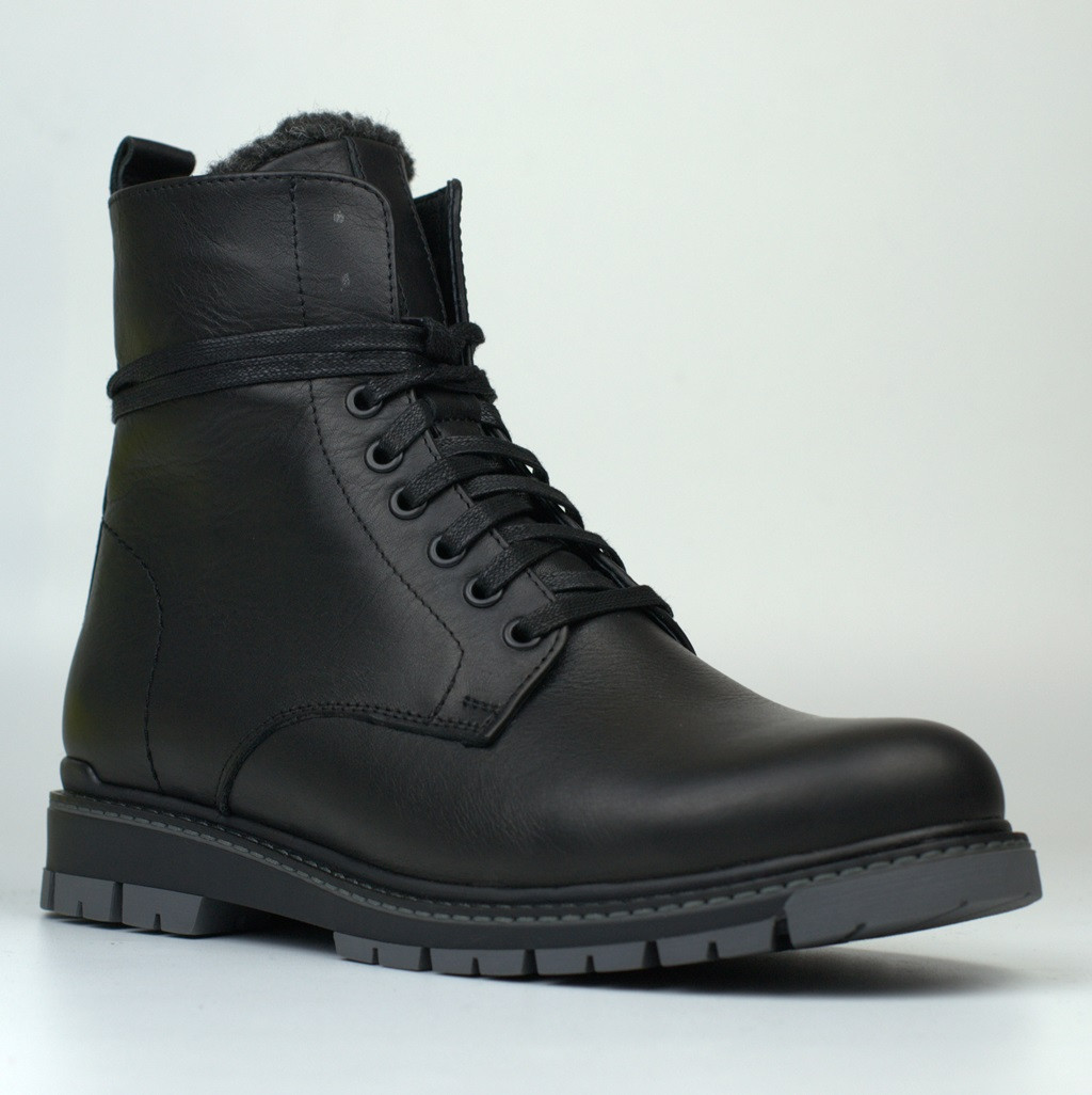 Кожаные зимние мужские ботинки на меху Rosso Avangard Whisper 2 Modern Black черные