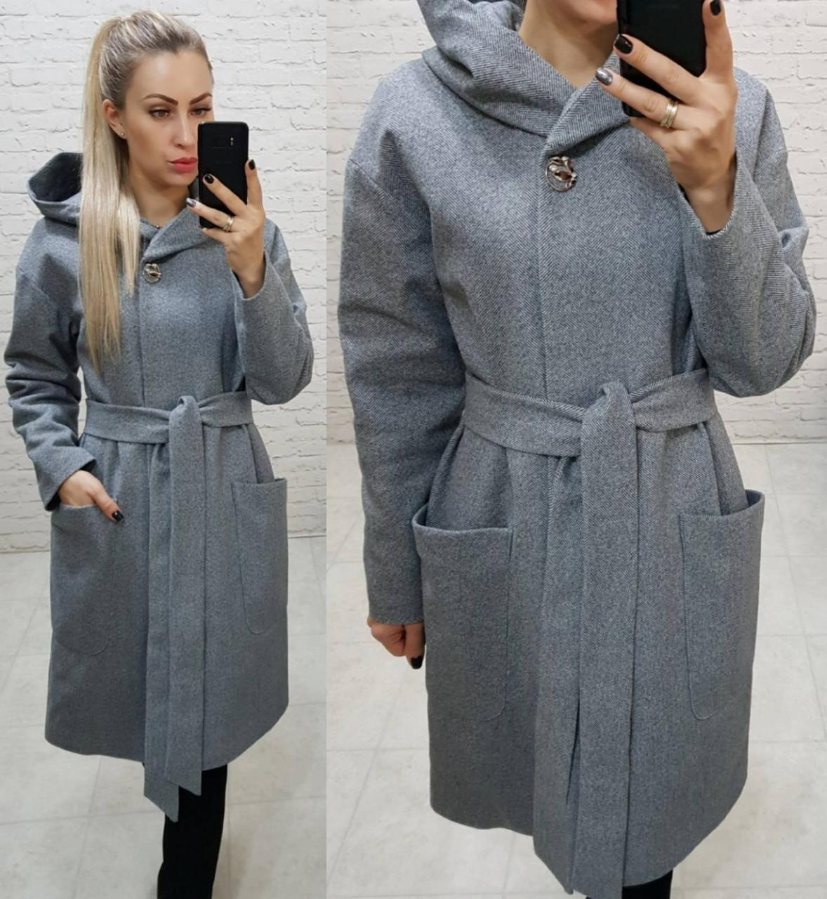 Теплое пальто с капюшоном, кашемировое, ЕВРО-ЗИМА, елочка, арт 176