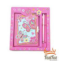 Блокнот для девочки с ключиком и ручкой Butterfly