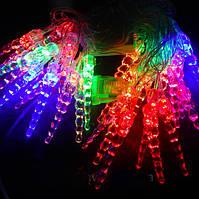 Гирлянда Сосульки 28 LED лампочек Мульти, 400 см, прозрачный провод, переходник (1-39)