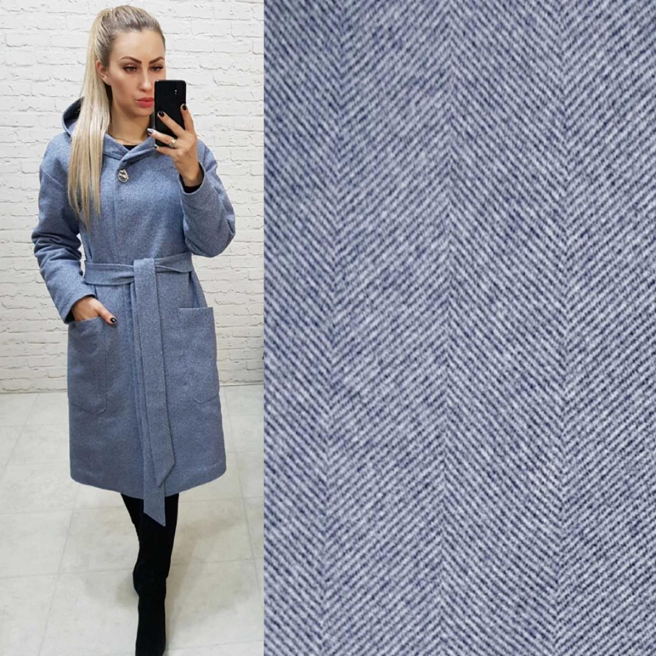 Теплое пальто с капюшоном, кашемировое, ЕВРО-ЗИМА, цвет елочка, арт 176