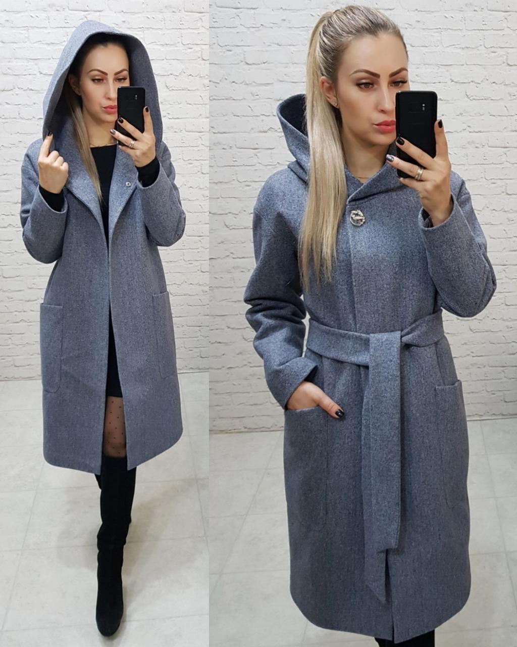 Теплое пальто с капюшоном, кашемирое, ЕВРО-ЗИМА, цвет серо-голубой, арт 176