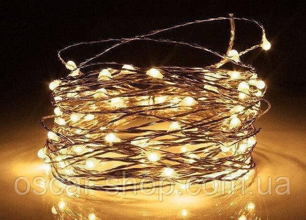 Світлодіодна гірлянда нитка Краплі роси на 200 Led електрична біла тепла 15 м. від мережі
