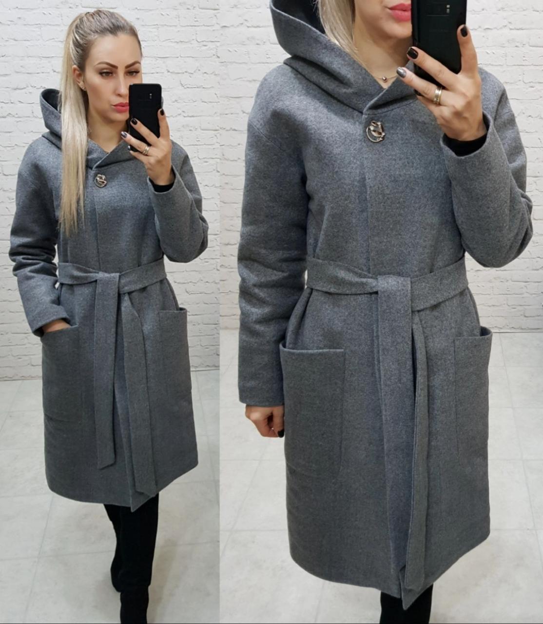 Теплое пальто с капюшоном, кашемировое, ЕВРО-ЗИМА, цвет меланж, арт 176