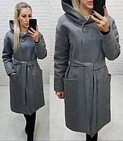 Теплое пальто с капюшоном, кашемировое, ЕВРО-ЗИМА, цвет меланж, арт 176, фото 1