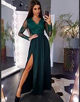Элегантное вечернее платье-макси с атласной юбкой(42-44)(44-46)