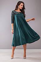 Женское стильное расклешенное платье с гипюром большие размеры