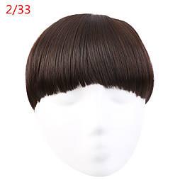Накладная челка из искусственых волос. Цвет #2/33 Коричневый