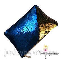 Клатч меняющий цвет синий-золото Код 10-1872