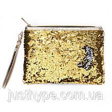 Косметичка-клатч меняющая цвет золото-серебро Код 10-1884