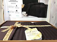 Шоколадное однотонное постельное белье в полоску. Сатин страйп. Евро размер.By IDO Cikolata